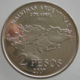 """ARGENTINA KM#141.1 - 2 Pesos 2007 UNC """"25 Anniversary Malvina's war"""", America Centrala si de Sud"""