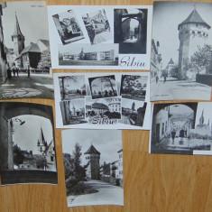 LOT 7 CARTI POSTALE SIBIU, Circulata, Fotografie, Romania de la 1950