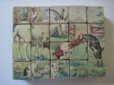 Joc vechi romanesc de colectie - Cuburi lemn puzzle (animale domestice)