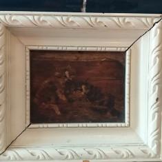 TABLOU VECHI ULEI PE BLAT DE LEMN SCENA CU PISICI SEMNAT MAROCIH.GH, Animale, Impresionism
