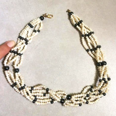 REDUCERE-Colier dama-VINTAGE ,perla semipretioase, PERLE de cultura-lantisor