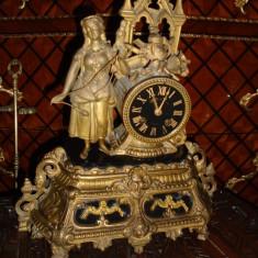 Ceas antic de șemineu in stilul francez cu marmura neagra sec 19