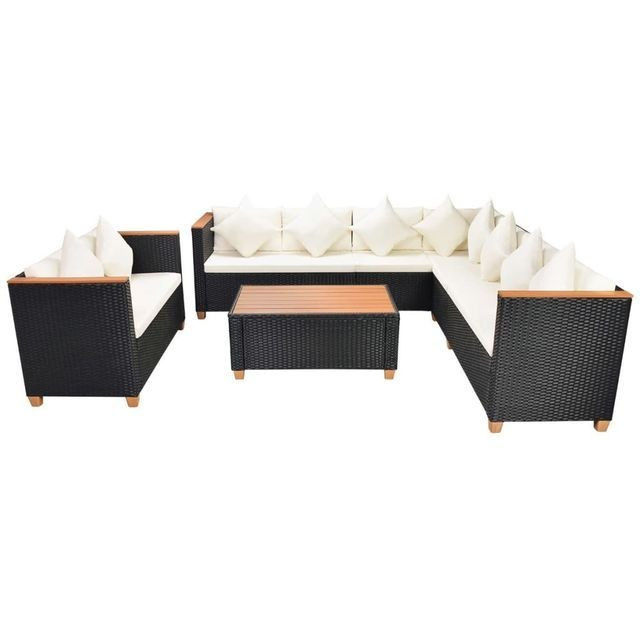 Set mobilier de gradina 31 piese, poliratan, blat WPC, negru foto mare
