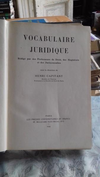 VOCABULAIRE JURIDIQUE - HENRI CAPITANT