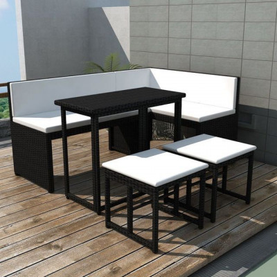 Set mobilier de gradina, 12 piese, poliratan, negru foto