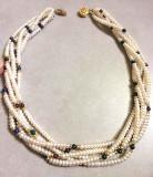 Colier multicolor-VINTAGE perla semipretioase,PERLE de cultura-lantisor