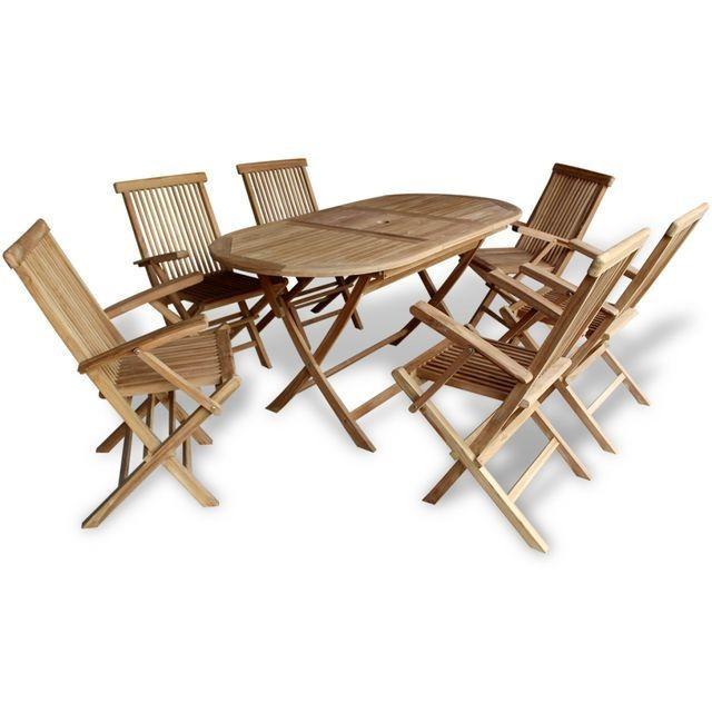 Set mobilier de exterior din lemn de tec, 7 piese foto mare