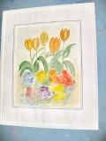 Acuarela natura statica flori zambile cu lalele.