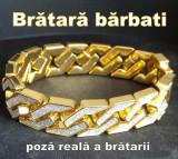 Bratara barbati, lată de 1.5 cm, dublu placată cu aur 18K