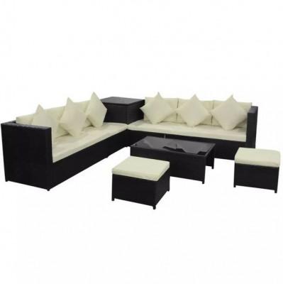 Set mobilier de gradina, 26 piese, poliratan, negru foto