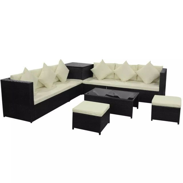 Set mobilier de gradina, 26 piese, poliratan, negru foto mare