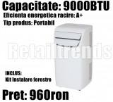 Aparat de Aer Conditionat Portabil Mobil A  9000 BTU + Kit Instalare Fereastra, Inverter