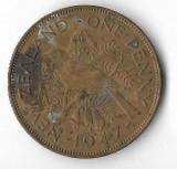 Moneda 1 penny 1947 - Noua Zeelanda, Australia si Oceania