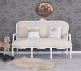 SOFA BAROC DIN LEMN MASIV ALB CU TAPITERIE BEJ  CAT361B01, Sufragerii si mobilier salon