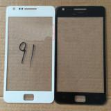 Geam Samsung Galaxy S2 i9100 alb negru + folie sticla