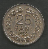 ROMANIA   RPR   25 BANI 1952  [1]    livrare in cartonas, Cupru-Nichel