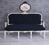 SOFA BAROC DIN LEMN MASIV ALB CU TAPITERIE DIN CATIFEA NEAGRA CAT361K49, Sufragerii si mobilier salon