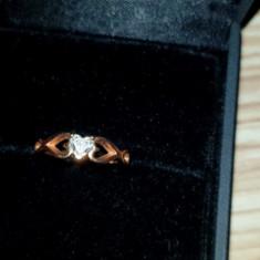 Inel aur rose cu diamant, 14k