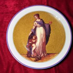 Farfurie portelan Limoges pictata manual rara, colectie cadou vintage