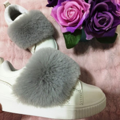 Adidasi albi cu puf gri pantofi papuci sport fete scai piele eco 28 29 30