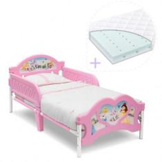 Set pat cu cadru metalic Disney Princess si saltea pentru patut Dreamily - 140...