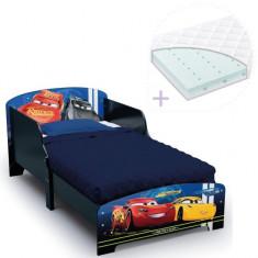Set pat cu cadru din lemn Disney Cars Team si saltea pentru patut Dreamily -...