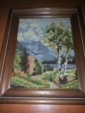 Tablou cusut / goblen-peisaj, rama lemn, fara sticla de protectie