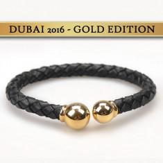 Bratara barbati ADRIEN MARAZZI - Dubai Gold (piele si inox placat cu aur 18k)