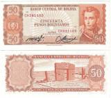 !!!  BOLIVIA  -  50  PESOS  BOLIVIANOS  1962  - P 162 a 20 - UNC / SERIA C9
