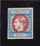 1869  LP 29  CAROL I CU FAVORITI  50 BANI ALBASTRU/ROSU NED. POINCON L. PASCANU, Nestampilat