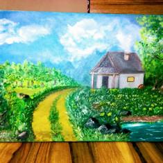 Tablou pictat în ulei pe panza / dimensiuni 55x38 cm, Peisaje, Altul