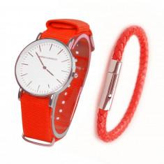 Set ceas + bratara piele barbati ADRIEN MARAZZI Red, Fashion, Quartz, Material textil, Tommy Hilfiger