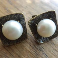 Cercei surub/fluture/cheita bronz cu perle de cultura