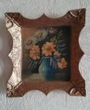Tablou rama retro vintage pictura ulei vaza vas flori miniatura, Realism