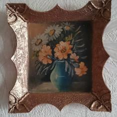 Tablou rama retro vintage pictura ulei vaza vas flori miniatura REZERVAT