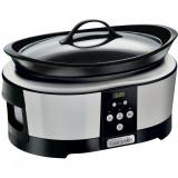 Slow cooker, 5.7 l, digital, 220 W, timer, negru/argintiu