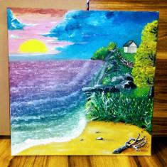 Tablou pictat în ulei pe panza / dimensiuni 40x40 cm, Peisaje, Altul