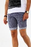 Pantaloni albastri scurti pentru barbati - cu imprimeu floral - A1807 X6-2