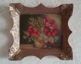 Tablou miniatura rama retro vintage pictura ulei vaza vas flori maci, Realism