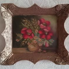 Tablou miniatura rama retro vintage pictura ulei vaza vas flori
