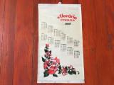 Calendar de perete din material textil anul 1987 / Floraria Codlea !