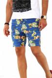 Pantaloni albastri scurti pentru barbati - cu imprimeu floral - A1794, 28, 30, 32, 34, 36, 38, Din imagine