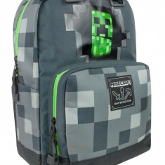 Ghiozdan Minecraft ORIGINAL Creeper Grey licenta Mojang 44cm GRI + BRATARA CADOU, Unisex