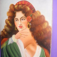 Tablou de colectie pe panza semnat,pictura veche originala antica T gratuit, Portrete, Pastel, Realism