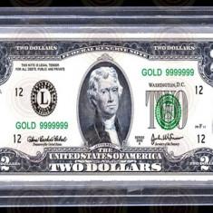 Lingou Two Dollars Bancnota 2 Dolari Bullion Bar USA