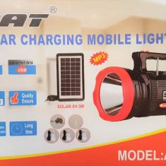 Lanterna LED cu panou solar, radio, 3 becuri , incarcare telefon, lampa LED
