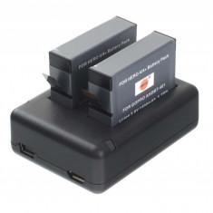 Kit 2 acumulatori + incarcator dual AHDBT-401 replace GoPro Hero 4 Black, Silver Edition