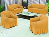Set huse canapea 3 locuri, canapea 2 locuri si 1 fotoliu 3+2+1 Mustar Deschis