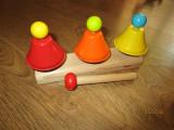 Jucarie bebe Clopotei muzicali HABA,Trei clopotei colorati,trei note diferite., Unisex, Multicolor, Metal