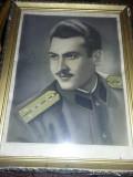 Fotografie veche OFITER MILITAR,Tablou vechi FOTO cu rama,Transport GRATUIT